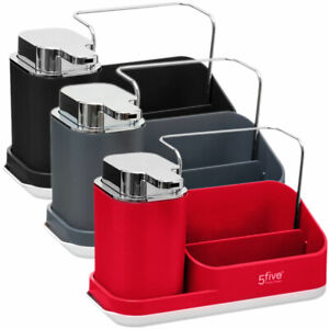 Sink Caddy With Lotion Dispenser - in Black, Grey or Red