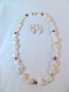 """Genuine Freshwater Heart Shaped Pearl Necklace 18"""" and Earrings Set 14K gold GSJ"""