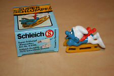 Vintage Schleich Super Smurf Sled Figure #7070 (40201) Brand New in Box