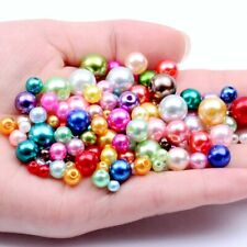Resin Imitation Pearls with Straight Holes Round Spacer Beads for Jewelry Making