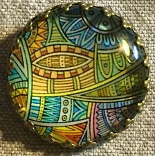 """Glass Dome Metal Base Blue Green Yellow Shank Button Just Over 1"""" 26mm 8625"""
