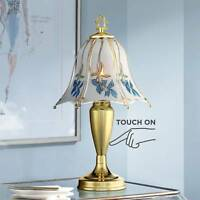 Traditional Accent Table Lamp Brass Touch On Blue Floral for Living Room Bedroom