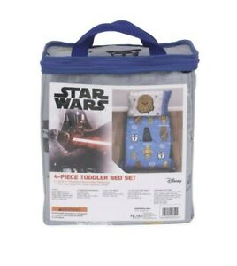 Star Wars Rule The Galaxy Blue, Grey, White 4 Piece Toddler Bed Set