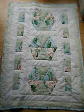 HANDMADE QUILTED PATCHWORK BABY / TODDLER QUILT. WOODLAND CREATURES