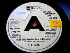 """B.B. King-Hold On (je crois notre amour est en train de changer) 7"""" vinyl promo"""