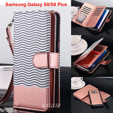 Samsung Galaxy Note 8, S8/S8+ Wallet Case Flip Leather Removable Magnetic Cover