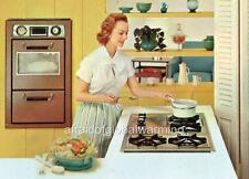 Print.  ca 1954. Suburban Housewife Cooking on Stove