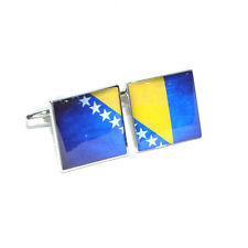 Bosnia Herzegovina Distressed Split Flag CUFFLINKS BiH Sarajevo Present GIFT BOX