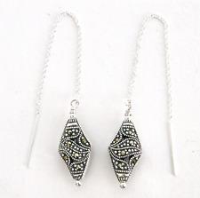 """""""IAJ"""" FANCY MARCASITE DIAMONDS STERLING SILVER Ear Threads Threader Earrings"""