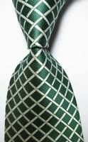 New Classic Checks Dark Green White JACQUARD WOVEN 100% Silk Men's Tie Necktie