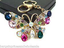 Gold Bling Butterfly Keyring Dangling Rhinestone Diamante Handbag Buckle Charm