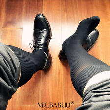 HOT NEW 3Pairs Pack Men's Striped Black Stretch Cotton Over The Calf Dress Socks