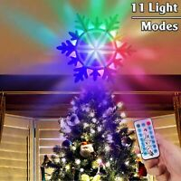 Christmas Tree Topper Star Party LED Lamp Rotating 3D Silver Snow Projector