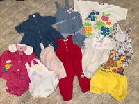 80s/90s Lot 10 Girls Vintage Baby Toddler Clothes Jumpers Rompers Outfits 18M