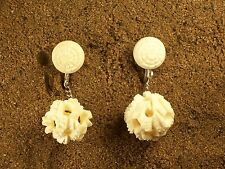 Vintage Asian Bovine Bone Hand Carved Clip-on Earrings