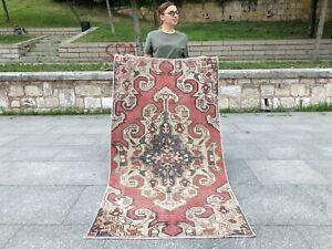 HANDMADE  ANATOLIAN TURKISH TRIBAL OUSHAK MEDALLION SOFT FADEDRED SMALL AREA RUG