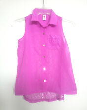 Total Girl Purple Blouse Top Sheer Lace Back Button Down Sleeveless Girls Sz M