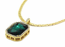 """Men 14k Gold Plated Iced Out Green Ruby Octagon Pendant Hip-Hop 24"""" Gucci Chain"""