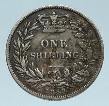 1859 UK Great Britain United Kingdom QUEEN VICTORIA Shilling Silver Coin i83200