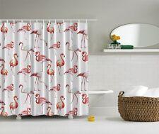 Tropical Pink Flamingo Digital Print Shower Curtain Birds Lovers Bath Decor