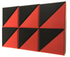 """2"""" RED/CHARCOAL 12 Pack Acoustic Bevel TRIANGLE Soundproofing Studio Foam Tiles"""