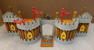 Lincoln Logs Fortress Castle Kingdom w/ Drawbridge, Trap Doors & 2 Knights