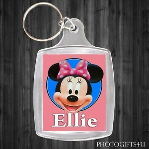 Personalised Disney MINNIE MOUSE Keyring / Bag Tag With Your Name -Large 35x45mm