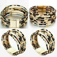 Damen Wickelarmband LederLook Leopard Armband Modeschmuck Manschette Wristb O5A8
