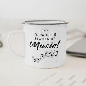 Personalised Music Enamel Mug/Cup Tea Coffee Gift Any Name Xmas Present