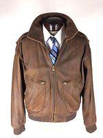 EXCELLED Leather Jacket Size Medium Vintage Cowhide Soft Supple  Bomber Flight