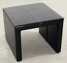 Lamp Side End Coffee Table Set Black Leather Glass Top - Pack of Two