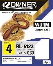Owner Haken  Wurmhaken RL-5123, gebundene Wurm Haken, Vorfächer zur Auswahl