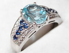 Sky Blue Topaz and Simulated Sapphire ring (2.58ct) in platinum bond, Size L.
