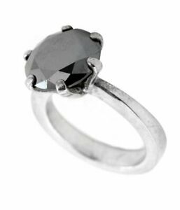 Round Black Diamond Ring Solitaire Wedding Engagement 3 Ct Certified Silver 925