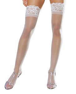 White Stay Up Silicone Lace Top Thigh High Stockings - Dreamgirl 7030