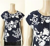 ex Laura Ashley Navy Floral Short Sleeve Casual Top