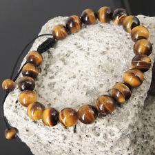 Men's Energy Awareness Healing Adjustable Braided Bracelet Brown Tiger Eye 817