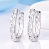 18K White Gold Diamond Hoop Oval Earrings   221
