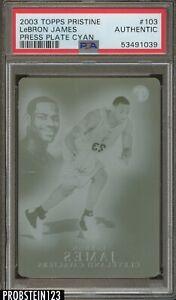 2003 Topps Pristine #103 Lebron James RC Rookie Press Plate Cyan 1/1 PSA