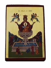 Greek Russian Orthodox Lithography Icon Our Lady Life giving Spring 9x7cm poplar