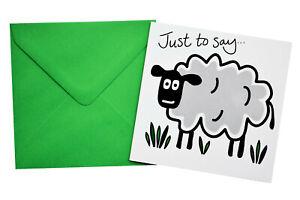 Single SHEEP THANK YOU Card.  Meadow Green envelope