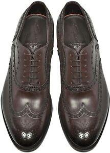 Santoni Milano Brogue Shoes Leather Sz 10.5 Dark Brown Italian Designer RRP £655