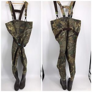 Advantage Mens Fishing Chest Waders w/ Rubber Boots Realtree Oak Camo Sz 13