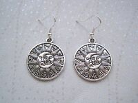 ZODIAC SUN and MOON LARGE ROUND DISC SP Drop Earrings CELESTIAL Astral Horoscope
