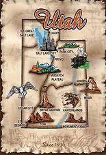 Utah, Salt Lake City, Ogden, Moab, Provo, Bryce Canyon etc. - State Map Postcard