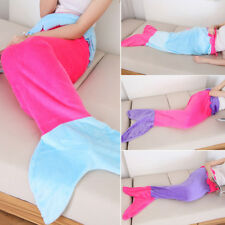Christmas Adults Kids Mermaid Tail Blanket Fleece Flannel Cocoon Sofa Quilt Soft