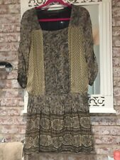 Zara Silk Dress Autumn, Paisley, Boho Perfect For Boots Size M Or 12