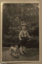 German Toddler Boy Wood Pull Toy Horse-Antique Vintage Real Photo 1940