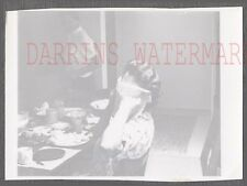 Unusual Vintage Photo Pretty Girl Hiding Face in Napkin at Dinner Table 774475