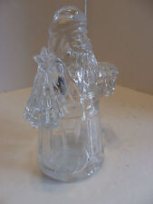 Vintage Heavy Crystal Glass Christmas Santa Clear Candle Holder Tree